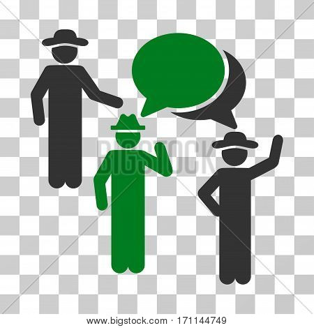 Gentlemen Discussion icon. Vector illustration style is flat iconic bicolor symbol green and gray colors transparent background. Designed for web and software interfaces.