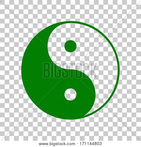 Ying yang symbol of harmony and balance. Dark green icon on transparent background.