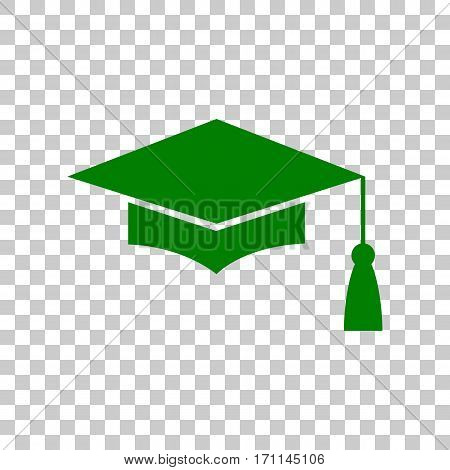 Mortar Board or Graduation Cap, Education symbol. Dark green icon on transparent background.