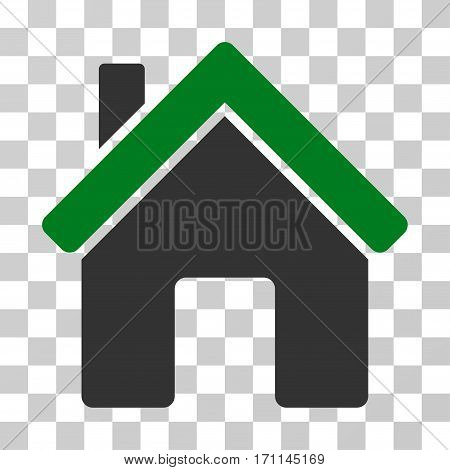 House icon. Vector illustration style is flat iconic bicolor symbol green and gray colors transparent background. Designed for web and software interfaces.