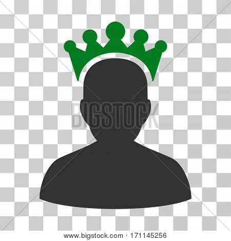 King icon. Vector illustration style is flat iconic bicolor symbol green and gray colors transparent background. Designed for web and software interfaces.