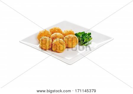 Cheese and French fries. On white square plate with parsley. Isolated on white background. Restaurant, cuisine