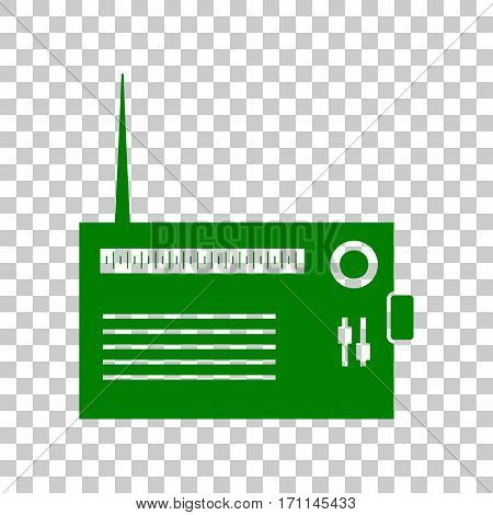 Radio sign illustration. Dark green icon on transparent background.
