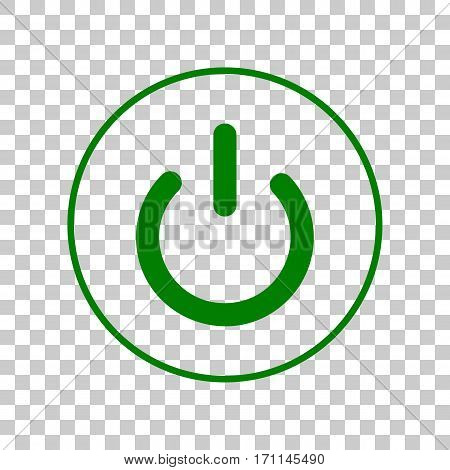 On Off switch sign. Dark green icon on transparent background.