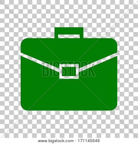 Briefcase sign illustration. Dark green icon on transparent background.