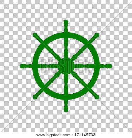 Ship wheel sign. Dark green icon on transparent background.