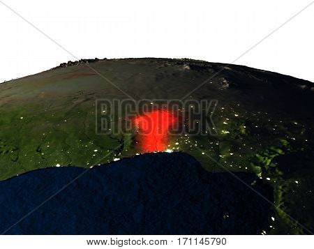 Benin From Space At Night