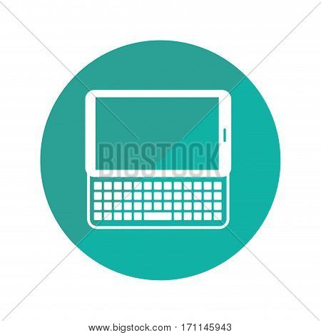 round frame with tablet with keyboard vector illustration