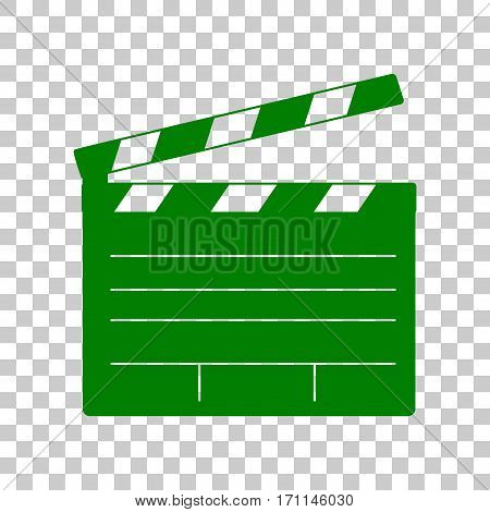 Film clap board cinema sign. Dark green icon on transparent background.