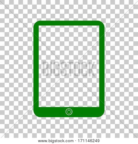 Computer tablet sign. Dark green icon on transparent background.