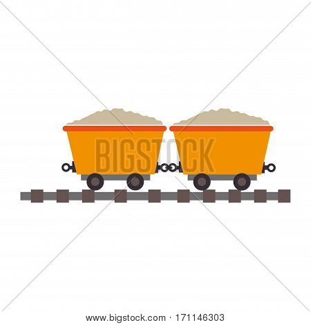 color silhouette with wagon of mining over rail vector illustration