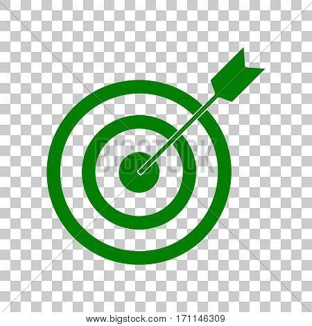 Target with dart. Dark green icon on transparent background.