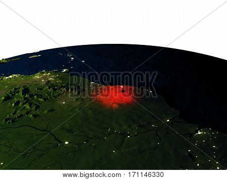 Suriname From Space At Night