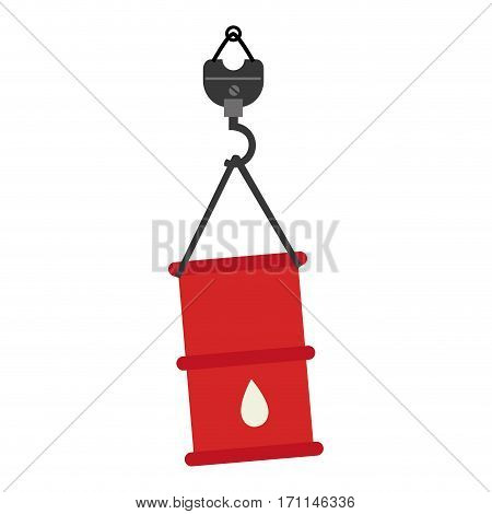 color silhouette with hook crane and barrel vector illustration