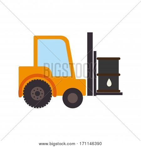 color silhouette with forklift truck with forks and barrel vector illustration