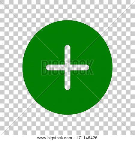 Positive symbol plus sign. Dark green icon on transparent background.