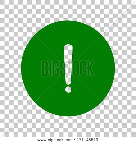 Exclamation mark sign. Dark green icon on transparent background.