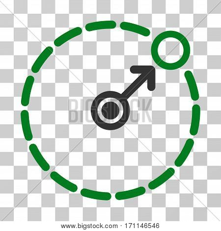 Round Area Border icon. Vector illustration style is flat iconic bicolor symbol green and gray colors transparent background. Designed for web and software interfaces.
