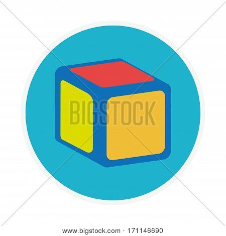 circular shape with toy cube vector illustration