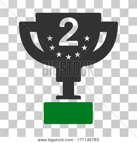 Second Prize Cup icon. Vector illustration style is flat iconic bicolor symbol green and gray colors transparent background. Designed for web and software interfaces.