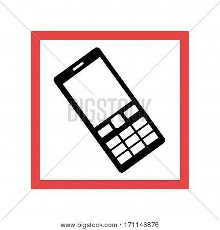 square frame with black contour cellphone with keyboard vector illustration