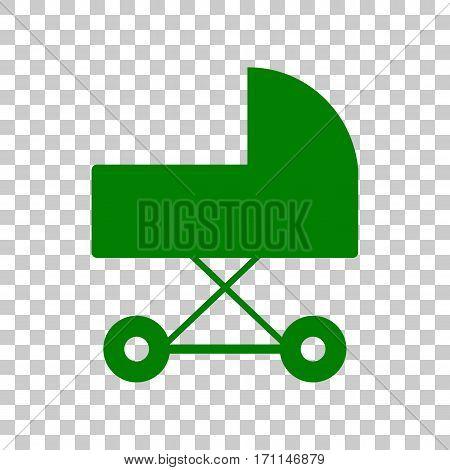 Pram sign illustration. Dark green icon on transparent background.