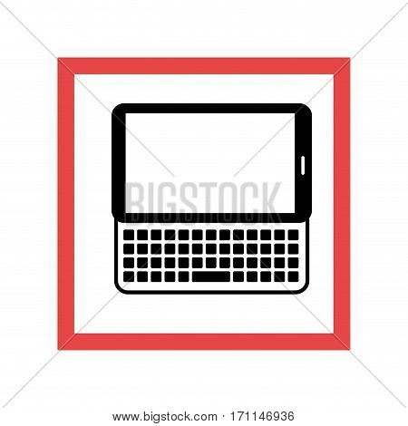 square frame with black contour tablet with keyboard vector illustration