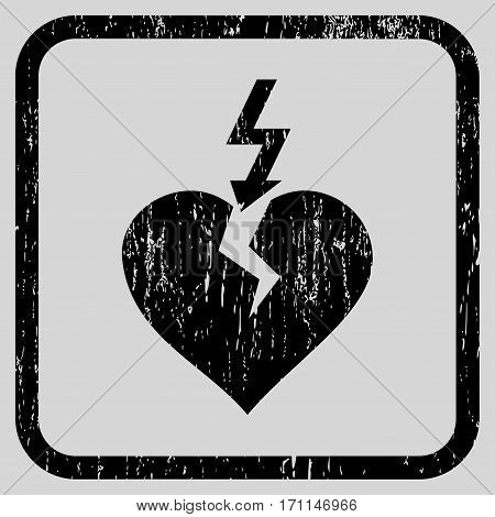 Break Heart rubber watermark. Vector icon symbol inside rounded rectangular frame with grunge design and dirty texture. Stamp seal illustration. Unclean black ink sticker on a light gray background.