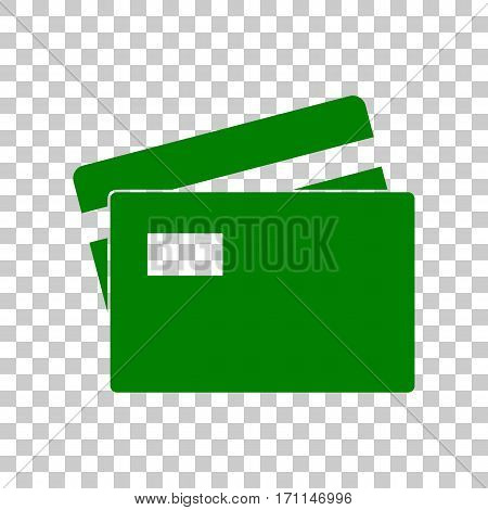 Credit Card sign. Dark green icon on transparent background.