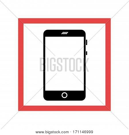 square frame with black contour cellphone vector illustration