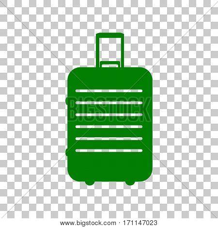 Baggage sign illustration. Dark green icon on transparent background.