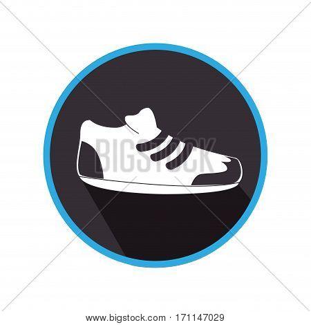 monochrome circular frame with sport shoe vector illustration