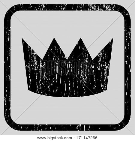 Crown rubber watermark. Vector icon symbol inside rounded rectangle with grunge design and dirty texture. Stamp seal illustration. Unclean black ink emblem on a light gray background.