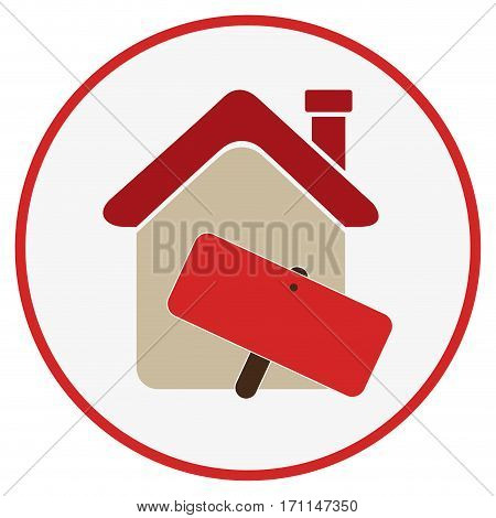 color circular frame with house with notice of sale vector illustration