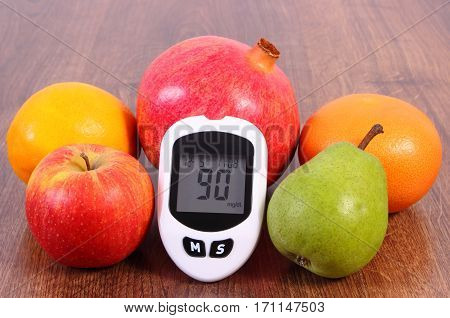 Glucose Meter With Fresh Fruits, Diabetes And Healthy Nutrition