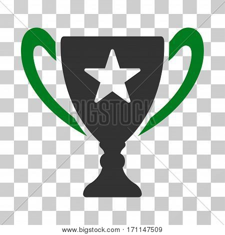 Trophy Cup icon. Vector illustration style is flat iconic bicolor symbol green and gray colors transparent background. Designed for web and software interfaces.
