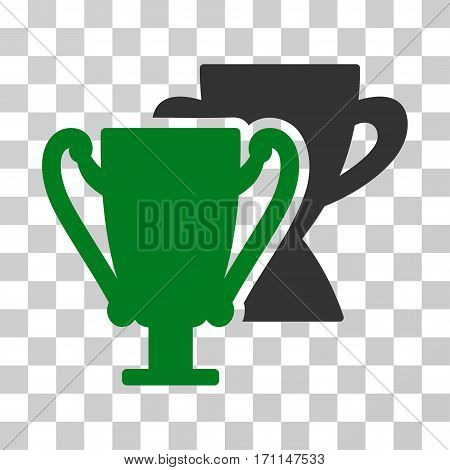 Trophy Cups icon. Vector illustration style is flat iconic bicolor symbol green and gray colors transparent background. Designed for web and software interfaces.