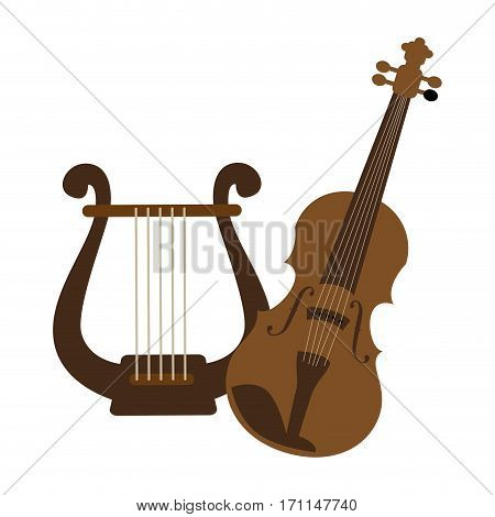 color silhouette with violin and harp vector illustration