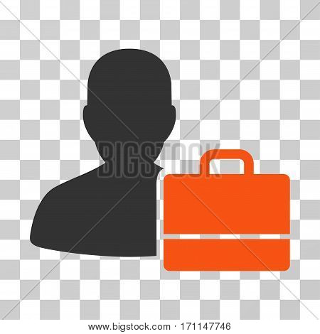 Accounter icon. Vector illustration style is flat iconic bicolor symbol orange and gray colors transparent background. Designed for web and software interfaces.