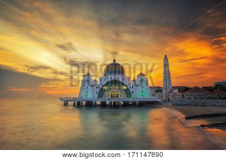Malacca Straits Mosque ( Masjid Selat Melaka) It is a mosque located on near Malacca Town Malaysia.