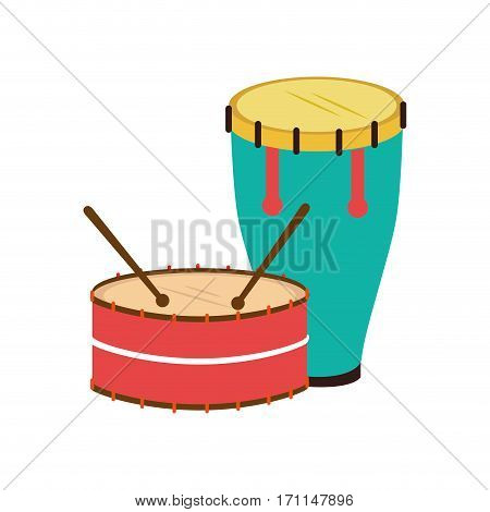 color silhouette with drum and drum stick vector illustration