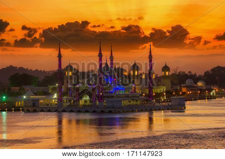 Crystal mosque in Malasia islam muslim with sunset and river