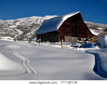 Ski tracks at historic Steamboat Springs barn