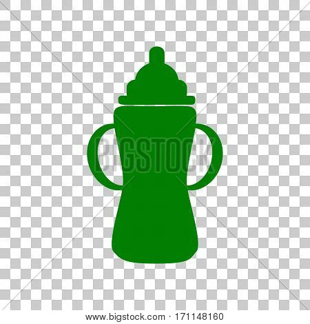 Baby bottle sign. Dark green icon on transparent background.
