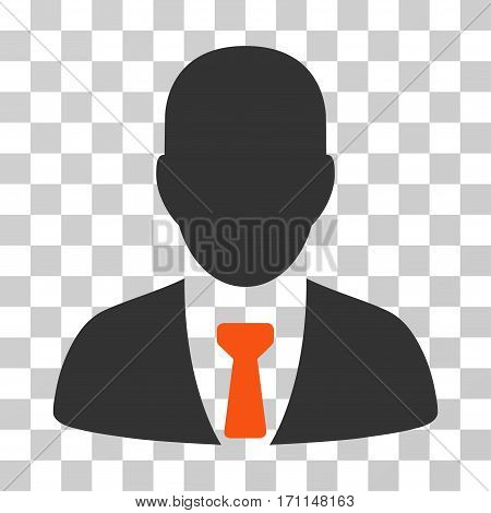 Businessman icon. Vector illustration style is flat iconic bicolor symbol orange and gray colors transparent background. Designed for web and software interfaces.