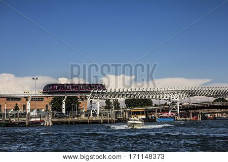 Venice Monorail line which connects Venice with the Marittima cruise terminals and tourist bus stop and motorboat taxi, Italy