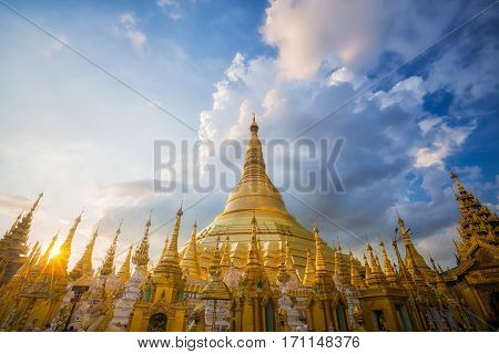 Golden Pagoda Shwedagon temple in Yangon Myanmar.