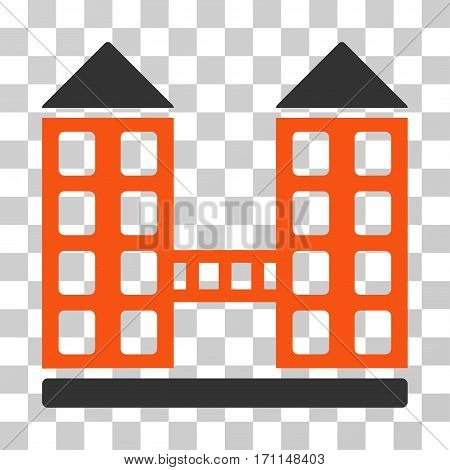 Company Building icon. Vector illustration style is flat iconic bicolor symbol orange and gray colors transparent background. Designed for web and software interfaces.
