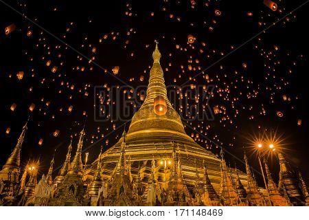 Golden Pagoda in Burma Shwedagon temple in Yangon Myanmar lantern yeepeng yee peng