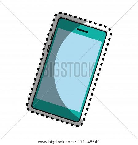 sticker color silhouette with modern cellphone vector illustration
